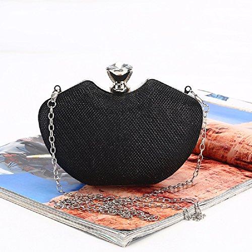 H.Slay Bag h. scannare borsa moda donna Bling pochette da sera nuziale Prom party borsetta, 16.5cm * 6cm * 11cm, Nero