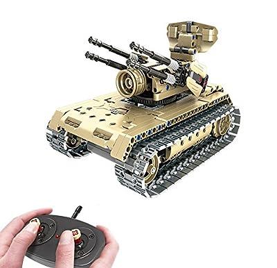 Modbrix Bausteine 2,4 Ghz RC Panzer Flakpanzer Ferngesteuert, Konstruktionsspielzeug mit 457 Bauteilen, Kompatibel mit L*go Technik von Modbrix