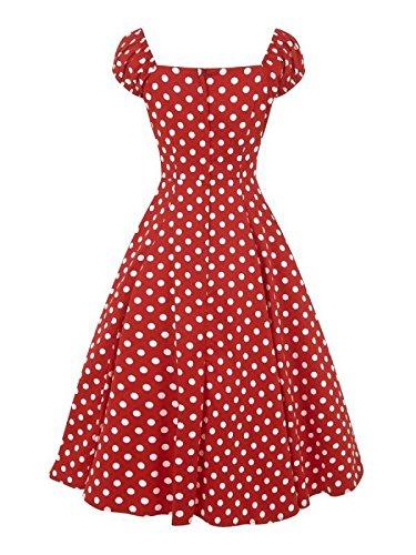 collectif de femmes Vintage Rouge et Blanc à Pois Dolores (Poupée 1950de Robe évasé Rouge - Rouge et blanc