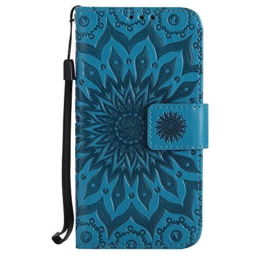 Für LG K3 Fall, Prägen Sonnenblume Magnetische Muster Premium Weiche PU Leder Brieftasche Stand Case Cover mit Lanyard & Halter & Card Slots ( Color : Rose Gold ) Blue