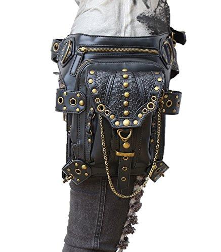 HenMerry Handtasche/Schultertasche, verschiedene Tragemöglichkeiten, Stil: Rock, Vintage-/Gothic-Stil, Retro-/Steampunk-Design, damen Herren, schwarz 1 (Retro Rocker Kostüm)