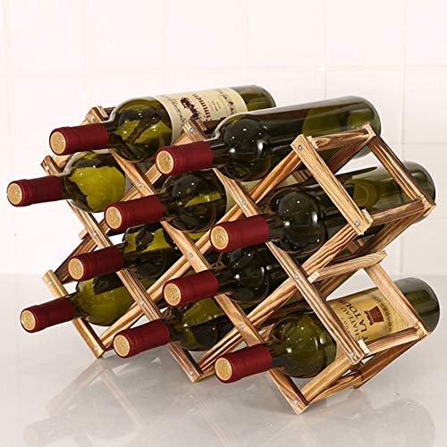 Wodeni Wooden Wine Rack 3/6/10 Bottle Holder Folding Drink Bottle Bar Display Shelf -