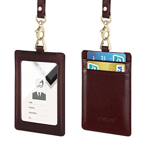 Ausweishüllen, Tyan 100% Echtes Leder Lanyard ID IC Kartenhalter mit abnehmbaren Umhängeband Horizontale vertikale Stil für Männer Frauen