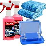 Brestol Reinigungsknete Set2 200 g Knete blau mittelstark + Box + 2X 750 ml Spezial GLEITMITTEL + 2X Poliertuch - Polierknete Lackknete Clay-Bar Auto-Lack-Knete - entfernt Baumharz Insekten u.v.m.