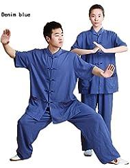 Los hombres y las mujeres hecho a mano lino TaiChi de manga corta uniforme, unisex, color azul vaquero, tamaño large