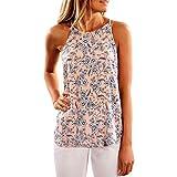 YEBIRAL Damen Tops Casual Frauen Sommer Blume Blumendruck Rundkragen Sleeveless Neckholder T-Shirt Weste Tank Tops Bluse(EU-36/CN-S,Rosa)