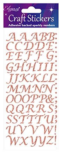 Eleganza oa027234Stilisierte Alphabet Buchstabe Glitzer Craft Aufkleber-Rose Gold selbstklebend (Scrapbooking-aufkleber Buchstaben)