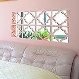 Tongshi 20pcs acrílico espejo pared etiqueta engomada desprendible DIY etiqueta hogar vinilo decoración Mural plata (Plata)