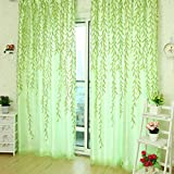 HJL cortinas de estilo hojas de sauce para la sala de estar decorada cortina de la ventana (100*270cm, Hojas verdes del sauce)