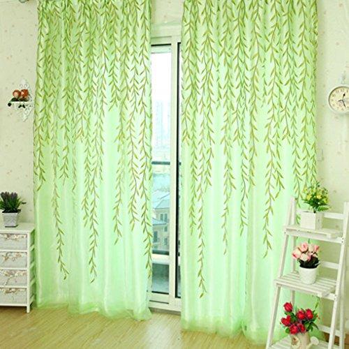Ideen Fenster Behandlungen (HJL Vorhänge Stil Weide Blätter für Wohnzimmer dekoriert Fenster Vorhang (100*270cm, Grüne)