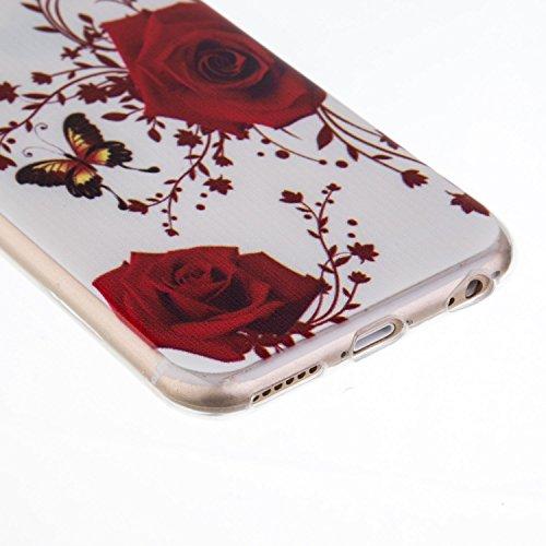 iPhone 6S Plus Hülle, iPhone 6 Plus Hülle, SainCat Silikon Hülle Tasche Handyhülle [Kratzfeste, Scratch-Resistant] TPU Bumper Case Weiches Gel Cover Schutzhülle Crystal Kirstall Clear Case Durchsichti Weiße Rose