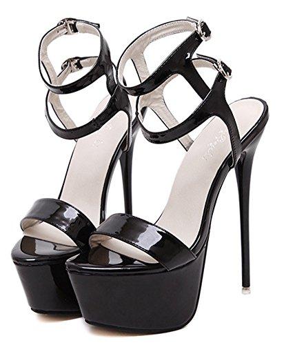 Aisun Femme Mode Plateforme Talon Aiguille Sandales Noir