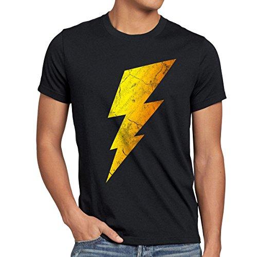 CottonCloud Sheldon Lightning Bolt Herren T-Shirt, Größe:L;Farbe:Schwarz