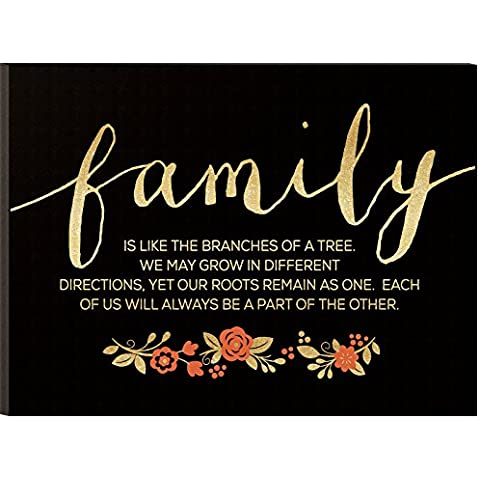 Family is Like the Brances of a Tree Black and Gold 12 x 16 inch Glitter Wood Wall Sign Plaque by P Graham