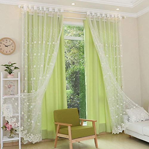 NACHEN Fenster Vorhänge Semi Blackout Baumwolle und Leinen Bestickt Schatten Schlafzimmer Wohnzimmer Vorhänge, 2ps, Color 5, W300*H270CM -