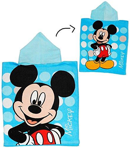 Badeponcho Mickey Mouse - blau - 50 cm * 115 cm - 4 bis 8 Jahre Poncho - mit Kapuze - Handtuch Strandtuch Baumwolle - Maus Micky blau Disney Jungen / Mädchen für Kinder Badehandtuch (Mickey-maus-uhr Blau)