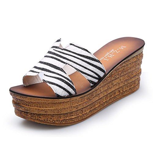 ZPPZZP Ms sandali pantofole spessa a tacco alto stile Coreano 36EU