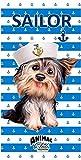GIBRA Strandtuch Badetuch, 70 x 140 cm,Art. 7394, Motiv: Hund mit Hut