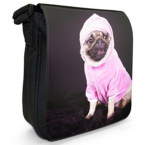 Carlino Pugs Love Little Cani Piccola Borsa a tracolla tela nera, misura piccola Pug Dressed In Pink Hoodie