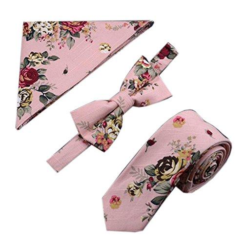 Mens modische Hochzeit Krawatten Set Krawatte/Fliege/Tasche, Blumen-Muster