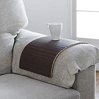 bandeja de madera que se adapta al brazo del sofá, butaca o sillón y a la mayoría de superficies inestables, acabado wengué, ideal para regalo
