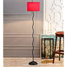 Red Drum Cotton Zig Zag Floor Lamp /Standing Lamp By New Era For Living Room /Drawing Room/Office/Bedroom/Decoration /Corner/Gift/Lobby