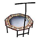 8-Eck-Trampolin ist 48 Zoll, Maximale Tragfähigkeit 150kg Sport- und Fitness-Trampolin, Höhenverstellbarer Handlauf für Innen/Garten Elastisches Seiltrampolin