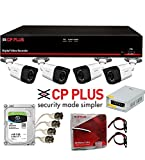 #10: DVR & Camera Combo Pack - CP Plus Astra Full HD 4Ch DVR + 4 CP Plus Bullet Camera 2.4 MegaPixel Nightvision + Seagate SKYHAWK Hard Drive + CP Plus Cable Box + Power Supply CP Plus + UPV BNC & DC Pin Set - Full CCTV Kit ( UPVsales™)