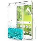 LeYi Hülle Huawei P10 Plus Glitzer Handyhülle mit HD Folie Schutzfolie,Cover TPU Bumper Silikon Flüssigkeit Treibsand Clear Schutzhülle für Case HHuawei P10 Plus Handy Hüllen ZX Turquoise