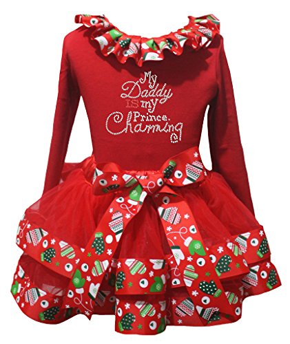 Petitebelle My Daddy Is My Prince Red L/s Shirt Xmas Petal Skirt Outfit Nb-8y (4-5 Years) (Prince Charming Kind Kostüme)