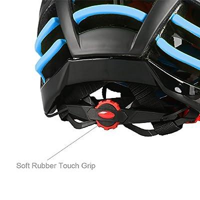 Uzexon Erwachsene Unisex Helme mit 26 Belüftungsöffnungen,Abnehmbarer Visier,Einstellbares Radsystem,Ein weicher Mesh-Liner und Abnehmbare Fahrradbrille für Fahrradhelme (Schwarz/Blau)