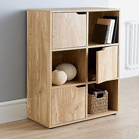 Top Home Solutions® Oak Finish 6 Cube 3 Door Shelf Books CDs & DVDs Wooden Storage Display Unit
