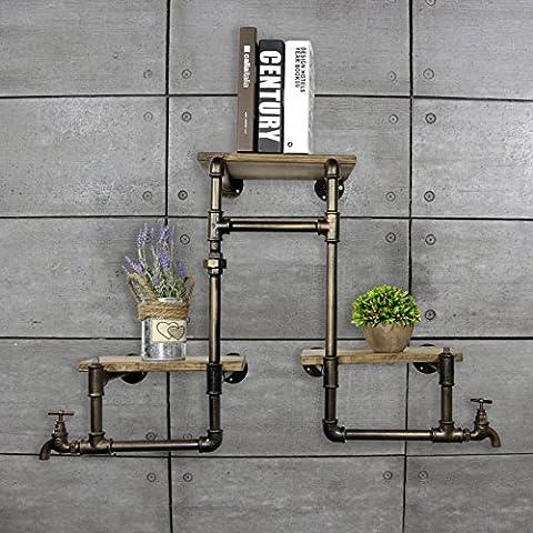 Tubo d'epoca mensola in ferro battuto dell'assicella di legno due livelli di stoccaggio cremagliera bagno mensola (80 * 60cm)-YU&XIN