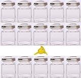 Viva Haushaltswaren - 15 x Mini-Marmeladenglas / Gewürzglas 50 ml mit silberfarbenem Schraubverschlu…