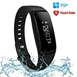 Futureway Fitness Wristband HR with Blood Pressure Monitor –Pedometer/Sleep Monitor/ Calorie Counter/Message Push/ Menstruation Reminder/IP67 - USB Direct Charge - Compatible with iOS and android (230mm*18.8mm*10.8mm, Black)