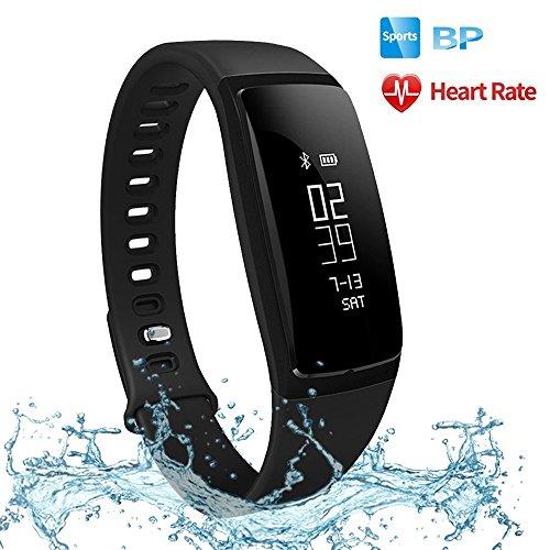 Futureway Fitnessarmband, Herzfrequenzmesser mit Blutdruckmessgerät,Schrittzähler, Schlafüberwachung, Kalorienzähler, Push-Benachrichtigungen, Menstruationserinnerung, IP67, Direktaufladung über USB, kompatibel mit iOS und Android
