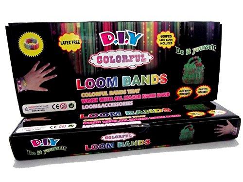 Bunte Loom Bands, um Ihre eigenen Kit Plus 600Bands & 24(S-Clips) & Loom Board–Plektrum Werkzeug Kind Knitting Loom