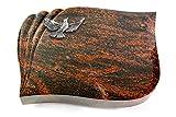 Generic Grabplatte, Grabstein, Grabkissen, Urnengrabstein, Liegegrabstein Modell Eterna 40 x 30 x 7 cm Aruba-Granit, Poliert inkl. Gravur (Aluminium-Ornament Taube)
