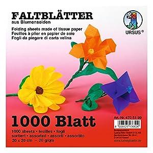 Ursus 4705199-Flor de Seda Hojas Plegable 20x 20cm, 20g/m², 1000Hojas Surtidos en 10Colores