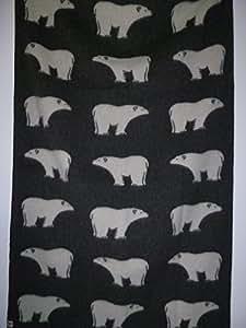 Roros tweed couverture jacquard couverture de laine, panna-grigio, 'Ours polaires' noir en laine de Scandinavie en style rustique 130x 200cm avec ourlet–environ 1,4kg, épaisseur 4mm