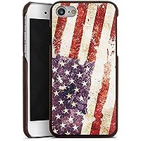 Apple iPhone 7 Lederhülle braun Leder Case Leder Handyhülle United States Of America Amerika Usa Flag