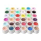 immagine prodotto Luckyfine 36 Colori Nail Art Pigmento Gel UV Per Unghie 36 Colori Solido Chiodo Gum Colori Brillanti E Metallizzati Durevoli Nel Tempo
