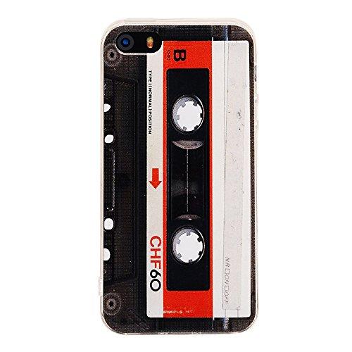 iPhone SE Fall, tncy Bumper Soft Cassette Tape Gummi Schutzhülle Haut Cover für iPhone 55S SE - Tape-haut Fall