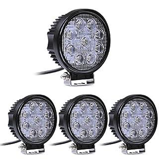 MCTECH 4 X 27W Runde LED Offroad Flutlicht Reflektor Scheinwerfer Arbeitslicht SUV, UTV, ATV Arbeitsscheinwerfer Zusatzscheinwerfer Offroad Scheinwerfer 12V 24V Rückfahrscheinwerfer