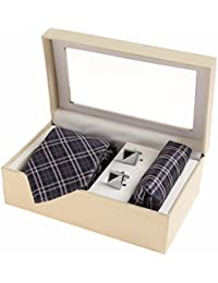 Sir Michele Designer Grey Micro Silk Tie, Pocketsquare and Cufflink Set for Men (Pack of 3)