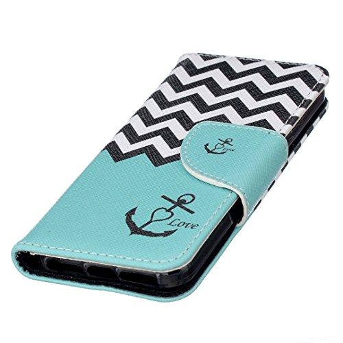 Apple iPhone SE Hülle im Bookstyle, Xf-fly® PU Leder Flip Wallet Case Cover Schutzhülle für Apple iPhone SE/5/5s Tasche Handytasche Schutz Etui Schale Handyhülle P-5