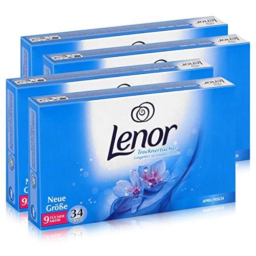 Lenor Trocknertücher Aprilfrisch 34 Tücher - Wäschepflege im Trockner (4er Pack)
