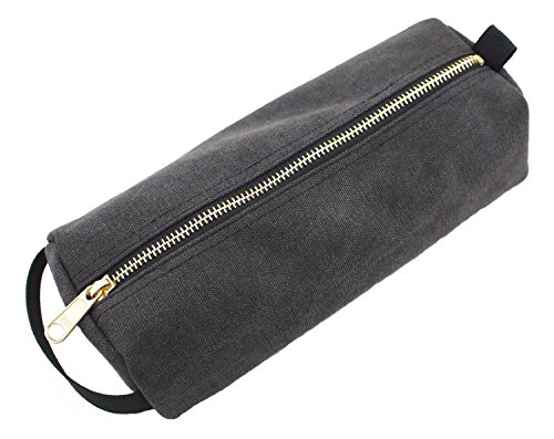 Rough Enough Highly Heavy Canvas Military Classic Small Tool Pencil Case Pouch, Tela, Stone Black, 9.1 X 4 X 2.5 inches Stone Black