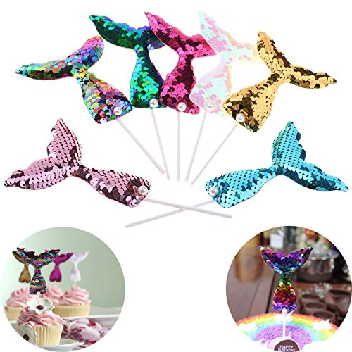 BraveWind mit Pailletten besetzte Meerjungfrauflossen-Dekoration, Cupcake-Topper, Dekoration für Babyparty, Hochzeit und Geburtstagsparty, 14 Stück