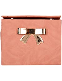 Stylish Sling Bag Party Clutch Bow Style Crossbody Women's Shoulder Sling Bag With Removable Chain Strap (Peach)
